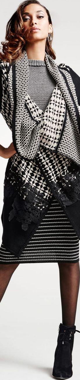 Madeleine Black/Wool White Cardigan