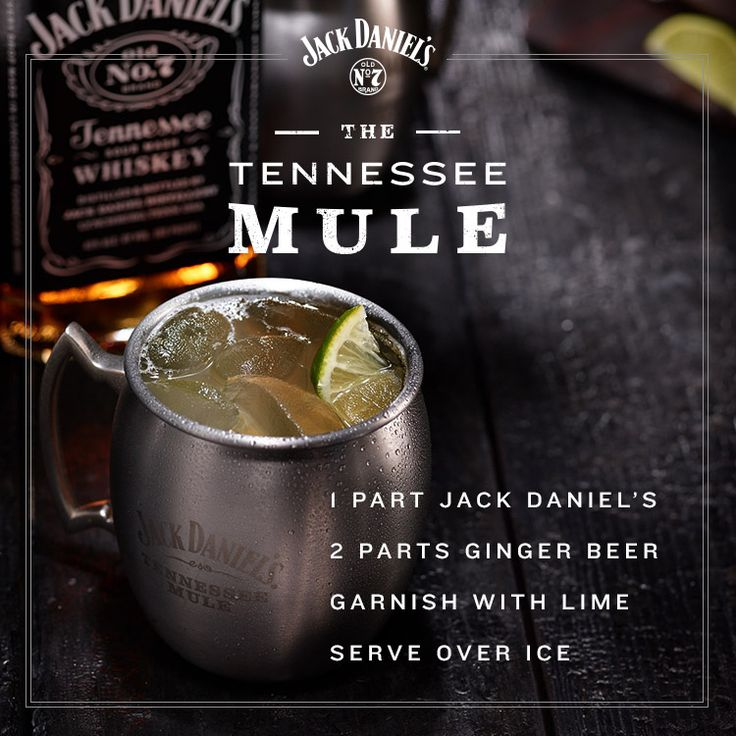 Let the weekend beginn with a yummy cocktail, the Tennessee Mule. Stir together 1 part Jack Daniel's, 2 parts ginger beer, and garnish with lime over ice. We don't know if there are many mules in Tennessee, but this has to be the best one by far.