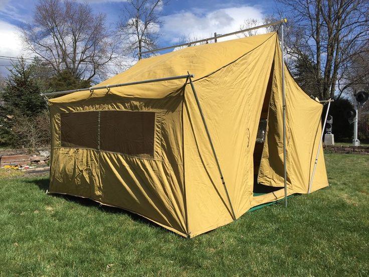 Vintage Eureka Canvas Cabin Tent w/Aluminum Poles 10u0027 6  X 8u0027 & Best 25+ Aluminum pole ideas on Pinterest | One man tent 1 man ...