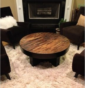 Round Coffee Table, Reclaimed Wood Coffee Table, Modern Coffee Table | Woodland Creek Furniture