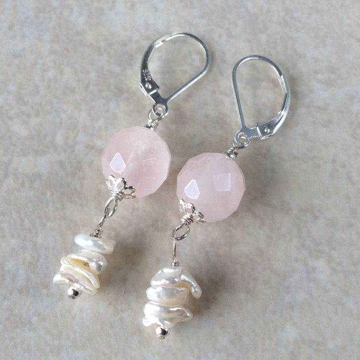 Rose Quartz Freshwater Pearl and Sterling Silver Earrings, Rose Quartz and Sterling Silver Earrings, Sterling Silver Pink Gemstone Earrings by AustinDowntoEarth on Etsy