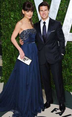 Tom Cruise and Katie Holmes are getting divorced!      Get the full story here: http://eonli.ne/MFlUkZKatie Holmes, Tom Cruises, Evening Dresses, Vanities Fair, Elie Saab, Oscars Parties, The Dresses, Deep Blue, Katy Holmes
