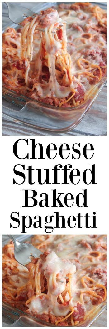 Cheese Stuffed Baked Spaghetti, a family favorite dinner!  Come see the step by step video too!