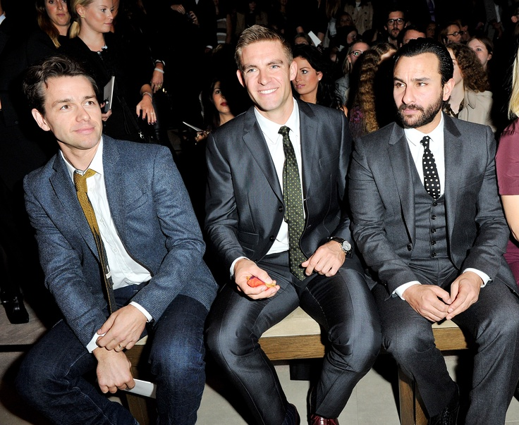 Julian Ovenden, Pete Reed and Saif Ali Khan at the Burberry Prorsum Womenswear Spring Summer 2013 Show