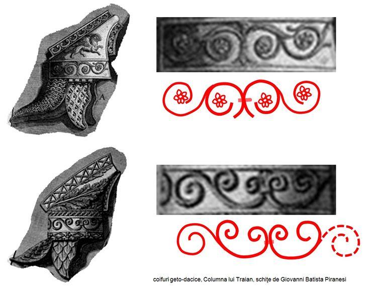 Coifurile geto-dacice reprezentate pe Columna lui Traian prezintă aceeaşi ornamentică bazată pe simbolismul de regenerare ciclică a naturii.