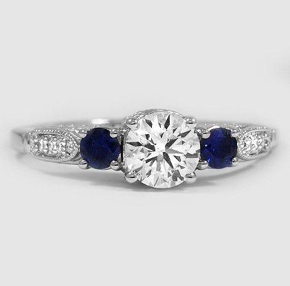 Platinum Three Stone Heirloom Diamond Ring with a 1.00 Carat Diamond and Custom Accent Gems ~ BrilliantEarth