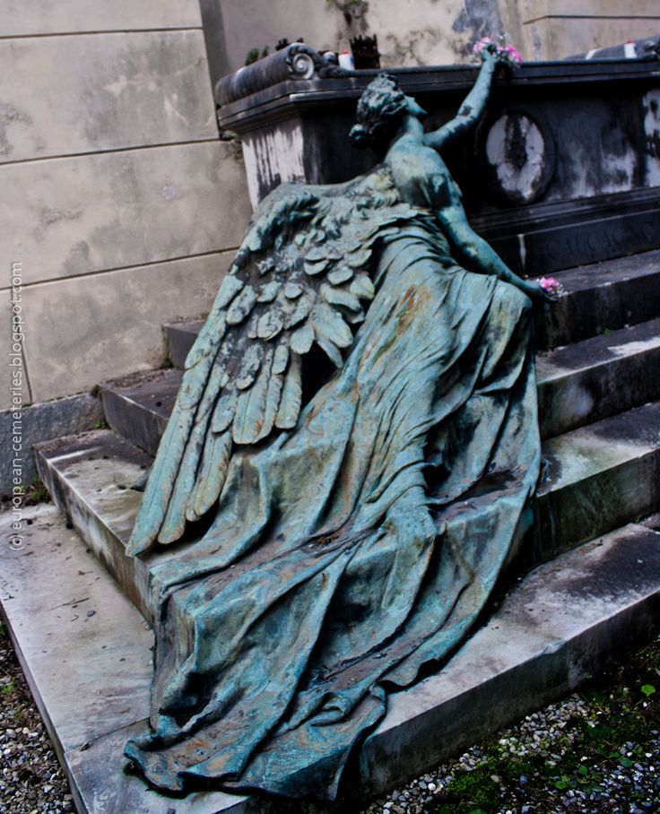 Adolfo Apolloni  ~ The statue lying on the steps, deposing a last flower on the grave, is the personification of Sorrow. Bronze, Calcagno family burial monument at the Staglieno Cemetery, Genoa - Italy, 1904 via European Cemeteries
