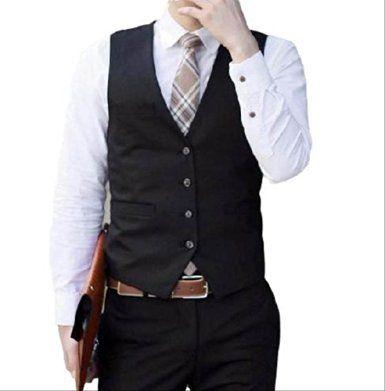 (aristar) メンズ ジレ ベスト スーツ カジュアル ファッション 結婚式 ドレスアップ 等 コーディネート (黒・XL)
