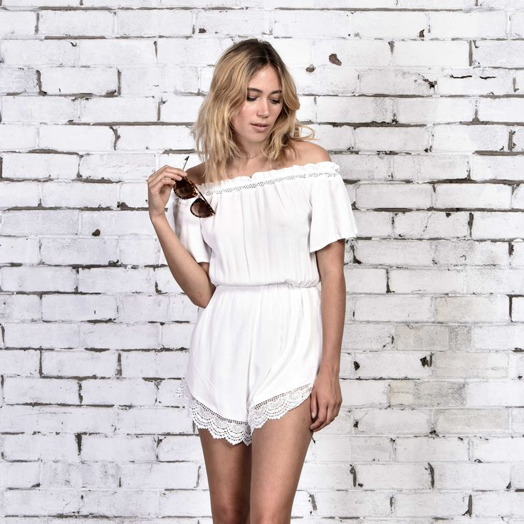 Our prettiest and best selling white playsuit is back in stock, shop the Valentino off the shoulder playsuit via: http://www.urbansport.com.au/home/441-valentino-off-the-shoulder-white-playsuit-with-lace-trim.html
