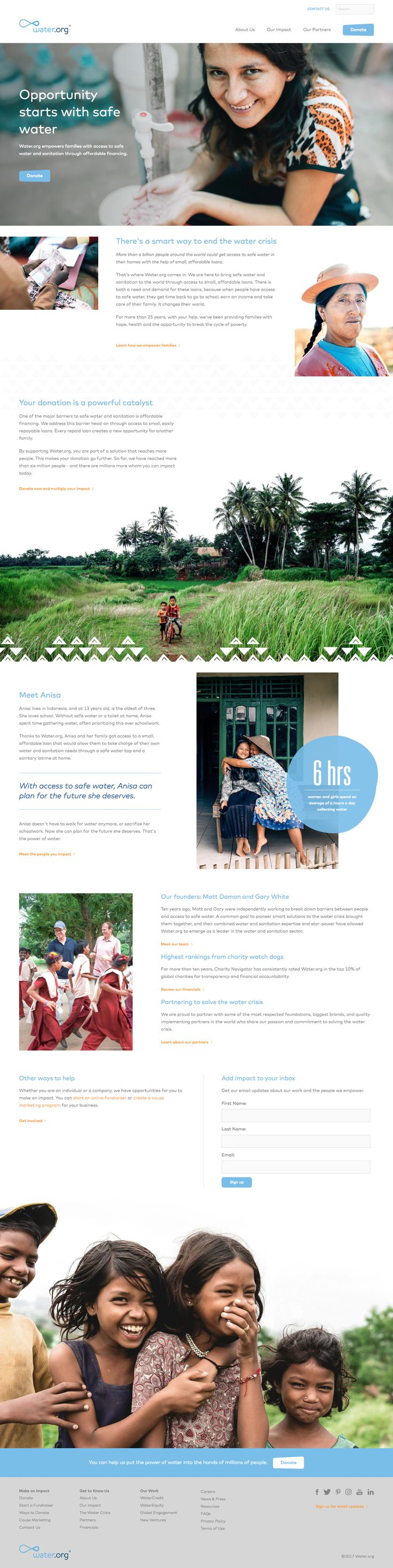 NGO, design is 100% focused on its social impact. The design is clean, much better than other NGO websites.