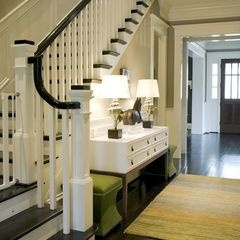 Front foyer and stair inspiration. The curved banister is really nice.