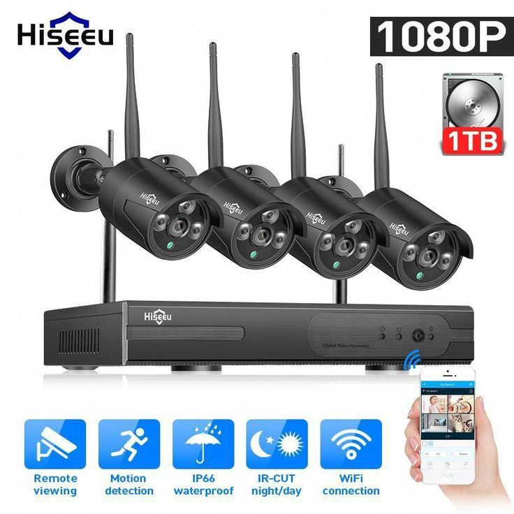 4CH 1080P NVR 4 Outdoor Waterproof 720P Wifi IR-CUT Camera Home Security System