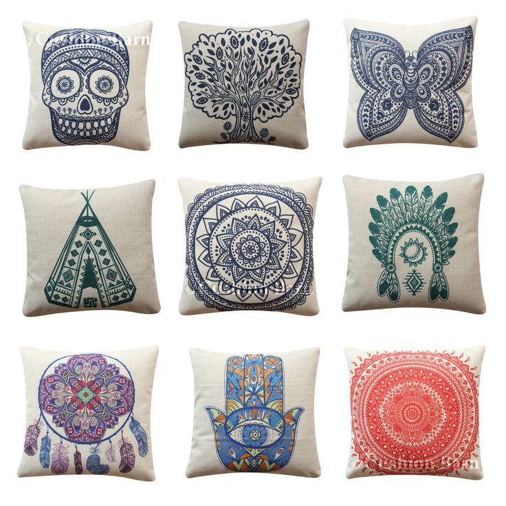 BOHO Dreamcatcher Hamsa Pillow Cover Mandala Cushion Retro Teepee Skull
