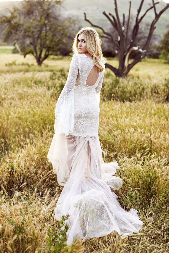 #Bohemian Lace Wedding Dress. #Medieval Wedding Dress. #Renaissance Dress. Bell Sleeve, Lace and Mesh Gown with keyhole back.