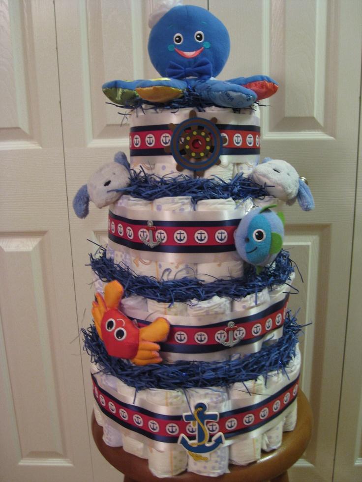 Nautical Themed Diaper Cake
