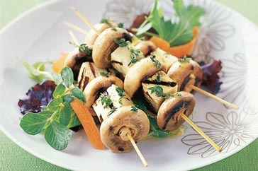 Grilled Mushroom and Haloumi Skewers