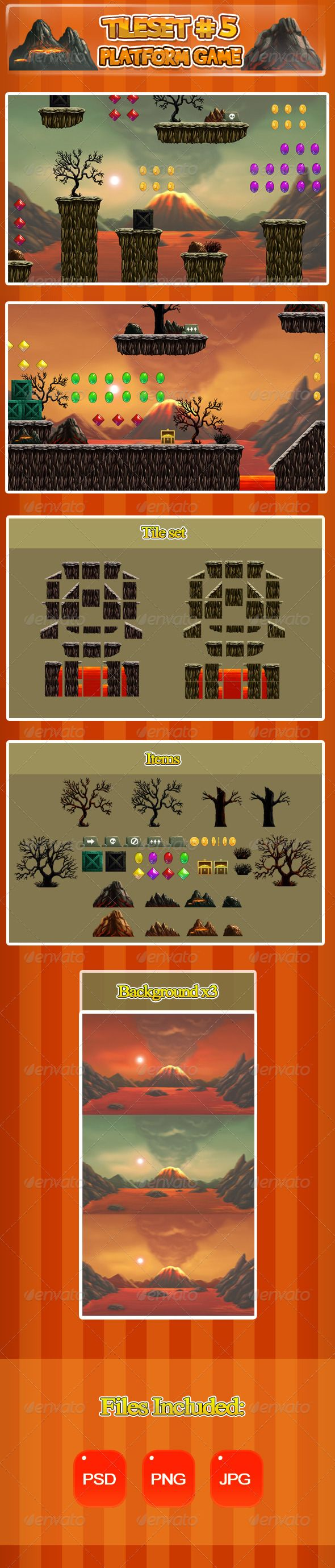2D Tileset Platform Game 5 — Photoshop PSD #android #sprite sheet • Available here → https://graphicriver.net/item/2d-tileset-platform-game-5/6697038?ref=pxcr