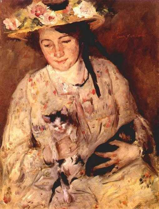 Lovis Corinth (German painter, 1858–1925) - Junge Frau mit Katzen [Young Lady with Cats (Portrait of Charlotte Berend-Corinth)], 1904