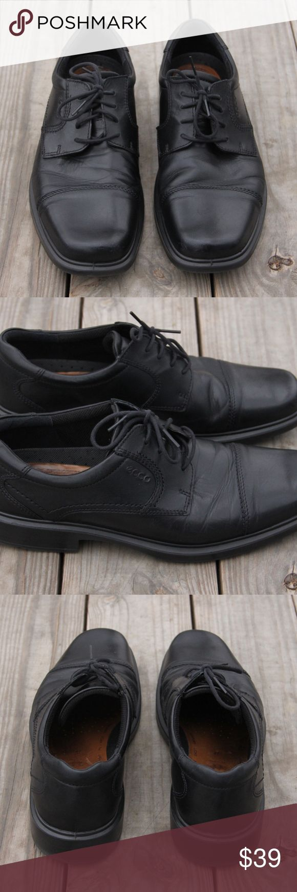 253463b2a5d2 ECCO Mens Helsinki Cap Toe Lace Up Oxfords Size 14 ECCO Mens Helsinki Cap  Toe Lace Up Oxford Black Dress Shoes Sz EUR 47 US 13 14 Same Day Free  Shipping!