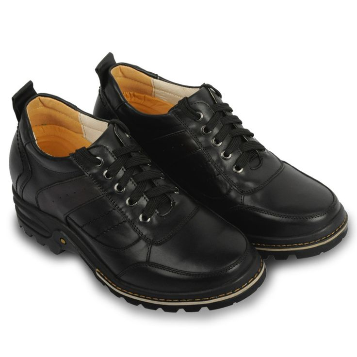 X2030-2 Extra Height Increasing Shoes Leather Motorcycle Shoes / Boots in Hidden Heels for Spring/Autumn men - 9CM Taller Black
