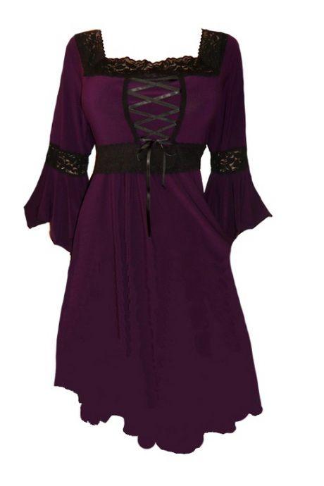 black gothic renaissance corset strapless wedding dresses | Plus Size Black and Purple Gothic Renaissance Corset Dress