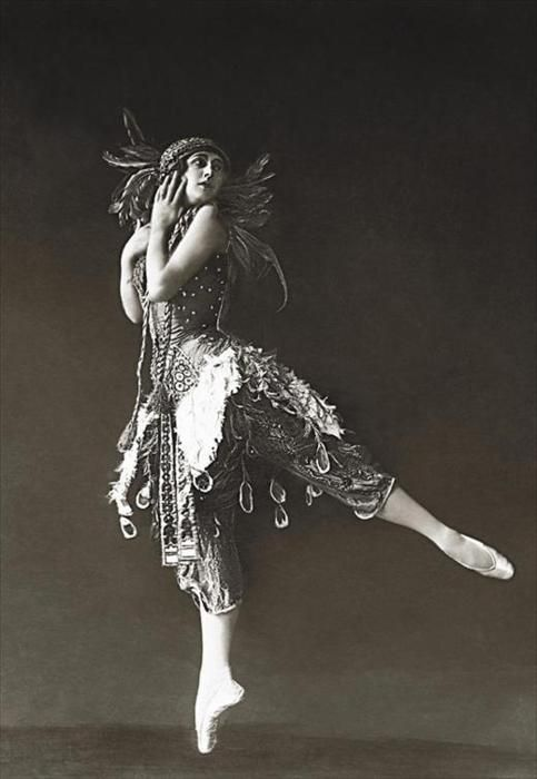 Ballet dancer Tamara Karsavina in 'The Firebird', 1912. Karsavina (1885-1978) was a famous Russian ballerina, renowned for her beauty, who was most noted as a Principal Artist of the Imperial Russian Ballet and later the Ballets Russes of Serge Diaghilev. After settling in Hampstead, England, she began teaching ballet professionally and would become recognized as one of the founders of modern British ballet.