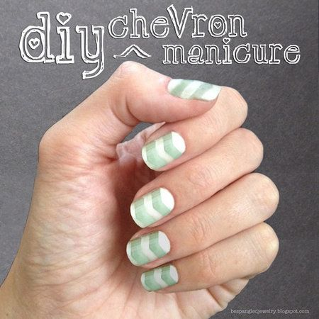DIY Chevron Manicure Tutorial! DIY #tapemanicure #tapednails #mani