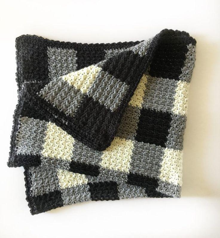 Daisy Farm Crafts - Gingham crochet black, white, gray baby blanket