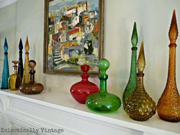 Vintage Gl Decanter Collection On The Mantle
