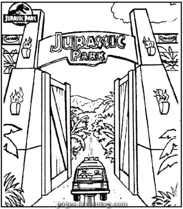 Charismatic Drawings Of Jurassic Park Gate Jurassic Park Gate Jurassic Park Tattoo Dinosaur Coloring Pages