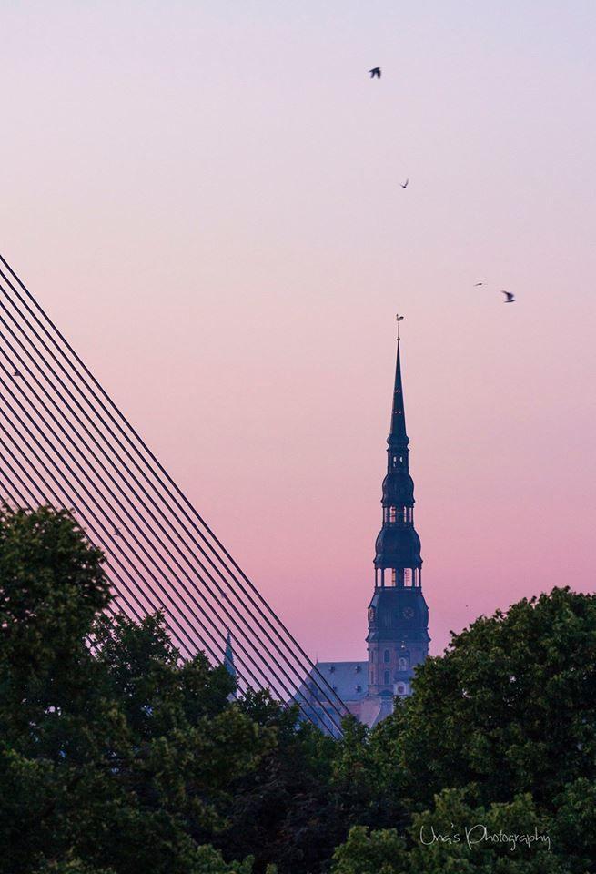 Beautiful pink skies above Riga.