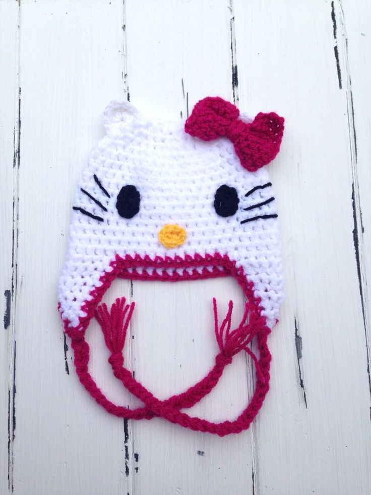 Handmade+Hello+Kitty+hat.  Available+in+sizes+newborn+to+5+years.  Made+using+a+soft+acrylic+yarn