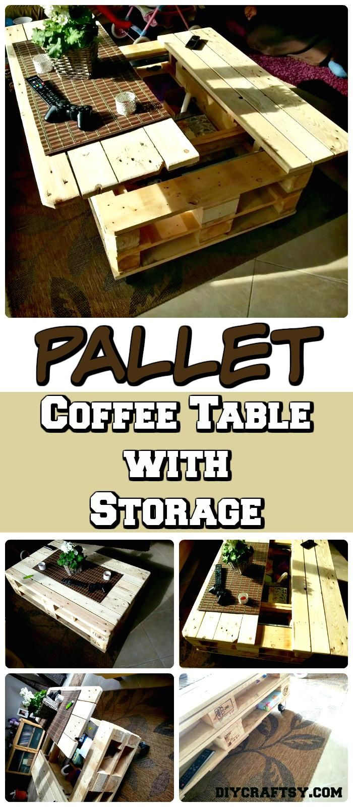 Euro Pallet Lift-Top Coffee Table – Offers a Secret Stash - 150 Best DIY Pallet Projects and Pallet Furniture Crafts - Page 6 of 75 - DIY & Crafts