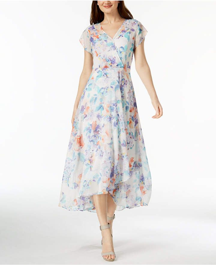 789cbce24d28 Calvin Klein Floral-Print Chiffon Maxi Dress in white with orange lighblue  and purple printed
