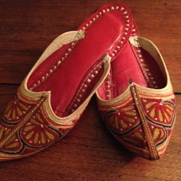 Indian slippers size 6 Like new! Worn once. I personally brought these back from India. They have a little padding in the soles and are comfy and beautiful. I'm moving and need to sell! Shoes Slippers