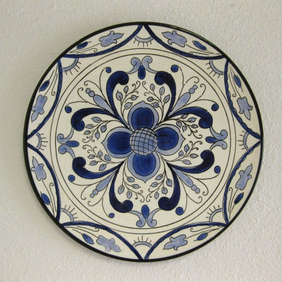 Vintage Blue and White Decorative Plate  by WestAstheCrowFlies, $16.00