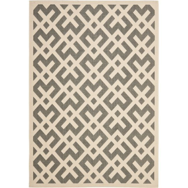 Safavieh Courtyard Contemporary Grey/ Bone Indoor/ Outdoor Rug (9u0027 X 12u0027)  By Safavieh