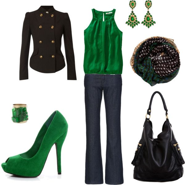 love this emerald green - love jewel tones!Green Shoes, Fashion, Style, Clothing, Day Outfit, Colors, Kelly Green, Shades Of Green, Black