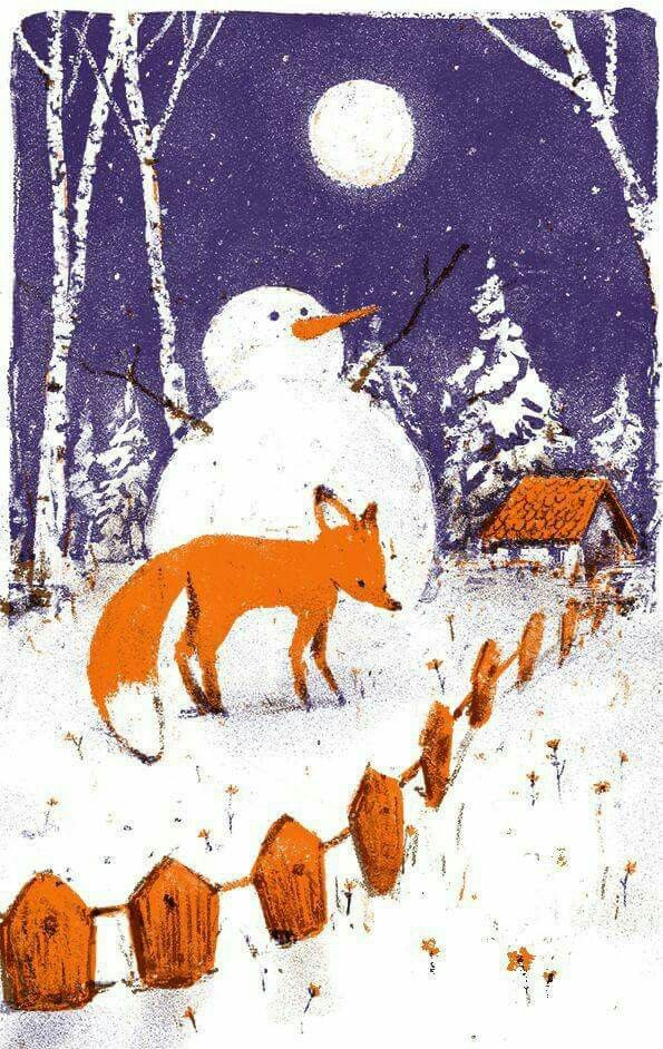 The moon, a snowman and a fox...this is so me.