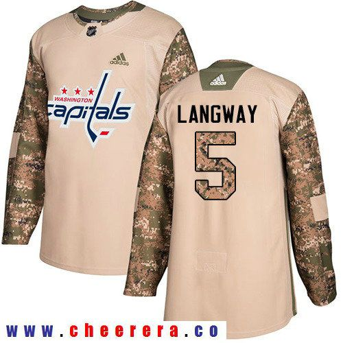 Adidas Capitals #5 Rod Langway Camo Authentic 2017 Veterans Day Stitched NHL Jersey