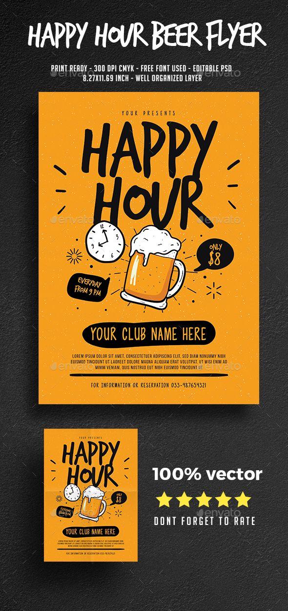 Happy Hour Beer Flyer Template PSD, AI Beer flyer, Happy