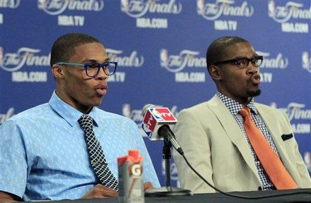 Oklahoma City Thunder Hipsters - Russell Westbrook and Kevin Durant- wonder what they are singing?