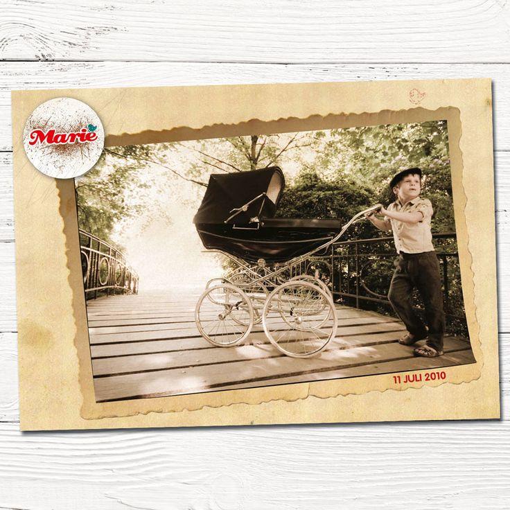 retro geboortekaartje met foto broer en kinderwagen | design op maat | grafisch | ontwerp | babykaartjes | jongen | indie | stempel