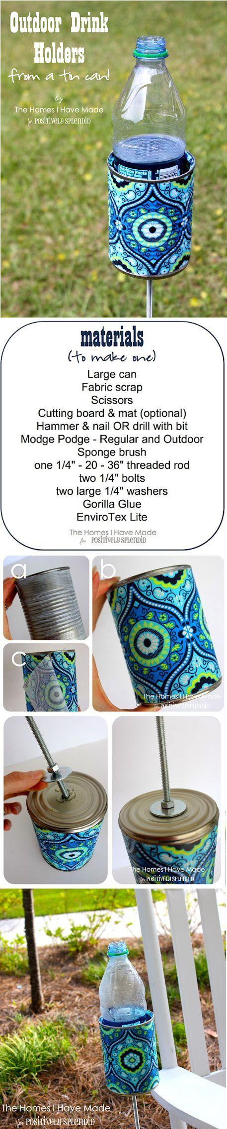 DIY :: Outdoor Drink Holder ( link :: http://www.positivelysplendid.com/2012/06/outdoor-drink-holder-tutorial.html )