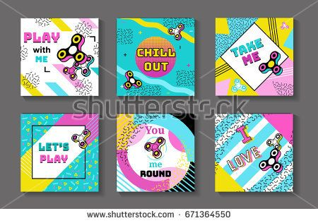 Fidget spinner posters set in trendy 80s-90s memphis style with geometric patterns and shapes. Vector illustration with and colorful background