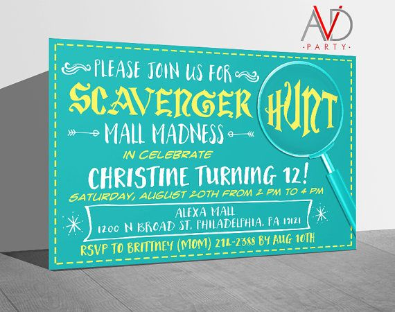 Scavenger Hunt Birthday Invitation Scavenger Hunt by avidastore
