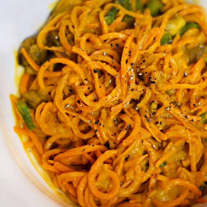 Sweet Potato Noodles with Roasted Red Pepper Cream Sauce - Shape.com