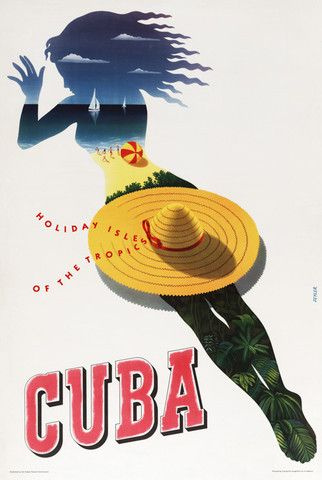 Cuba: Holiday Isle of the Tropics (Sunbather) | Vintage travel poster. #vintage #travel #cuba #beach
