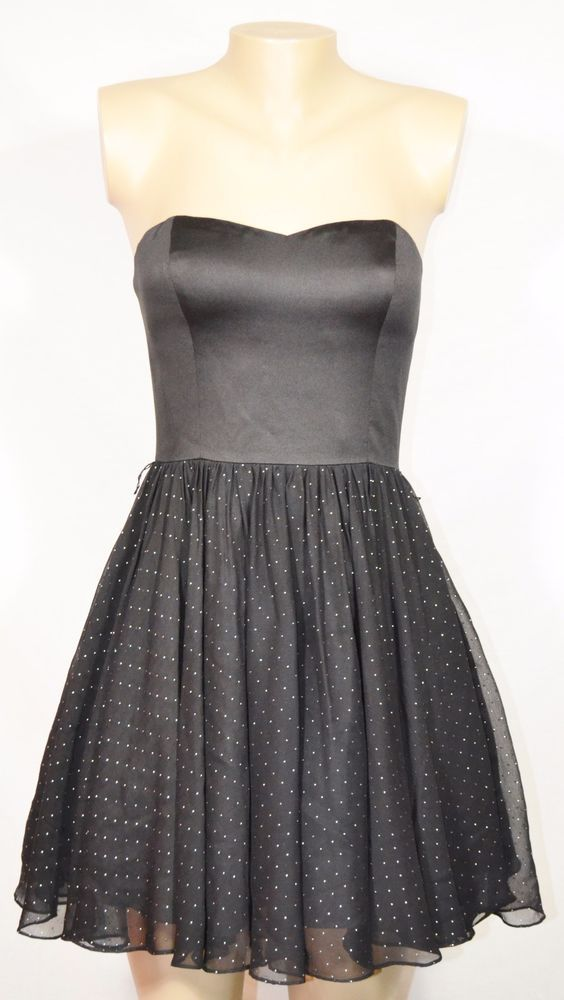 AIDAN MATTOX Black Strapless Party Dress 4 Smooth Bodice Silver Spotted Skirt #AidanMattox #FitFlare #Cocktail