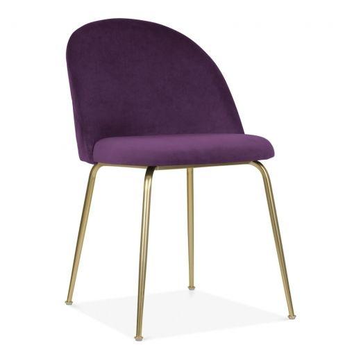 Heather Dining Chair Velvet Upholstered Plum Purple Velvet